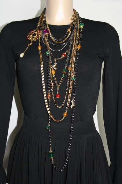 Dolce and Gabbana Long Necklace with Crystals - Iconics Preloved Luxury