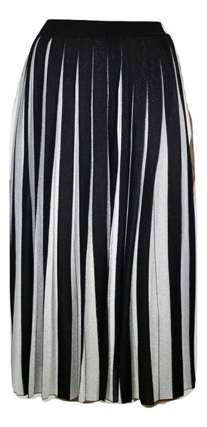 Gucci pleated Metallic striped stretch skirt, M