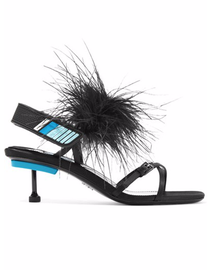 Prada Leather Strappy Ostrich Feather Sandals, 40