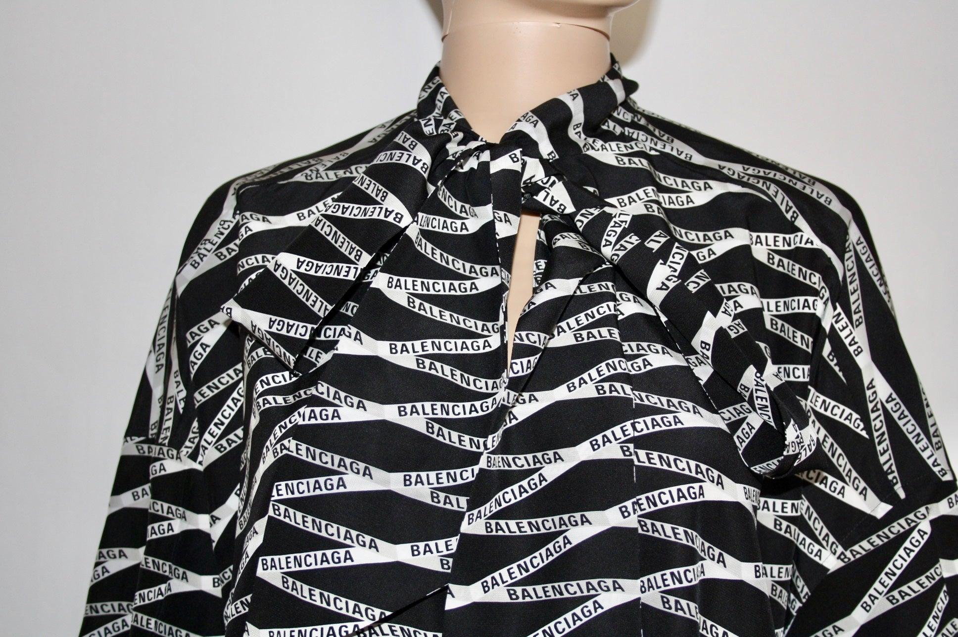Balenciaga Logo-print Silk blouse, S - Iconics Preloved Luxury
