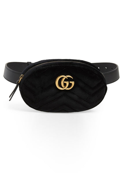 Gucci Black Marmont Velvet Belt Bag, 85 - Iconics Preloved Luxury
