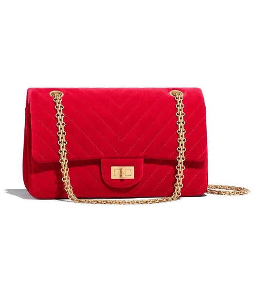 Chanel Reissue 2.55 Red Velvet Bag - Iconics Preloved Luxury
