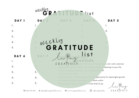Weekly Gratitude List Living Greatfully