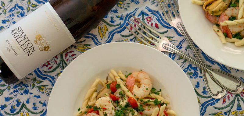 Trofie seafood pasta with garlic and chilli