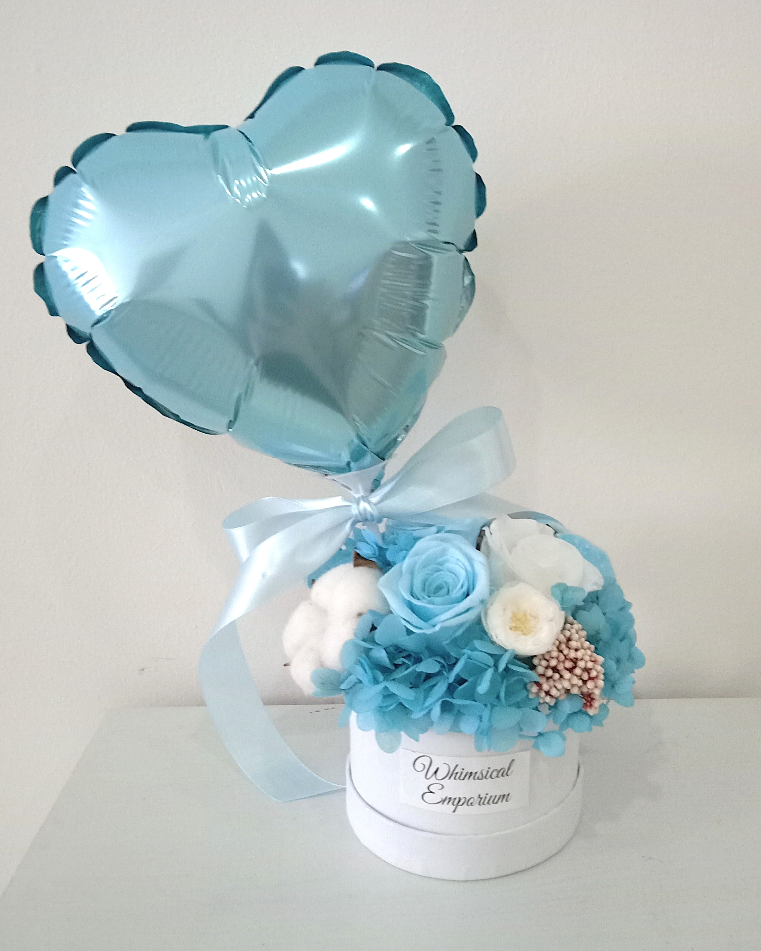 Blue Dried and Preserved Flowers Bloom Box with Balloon, Singapore Florist