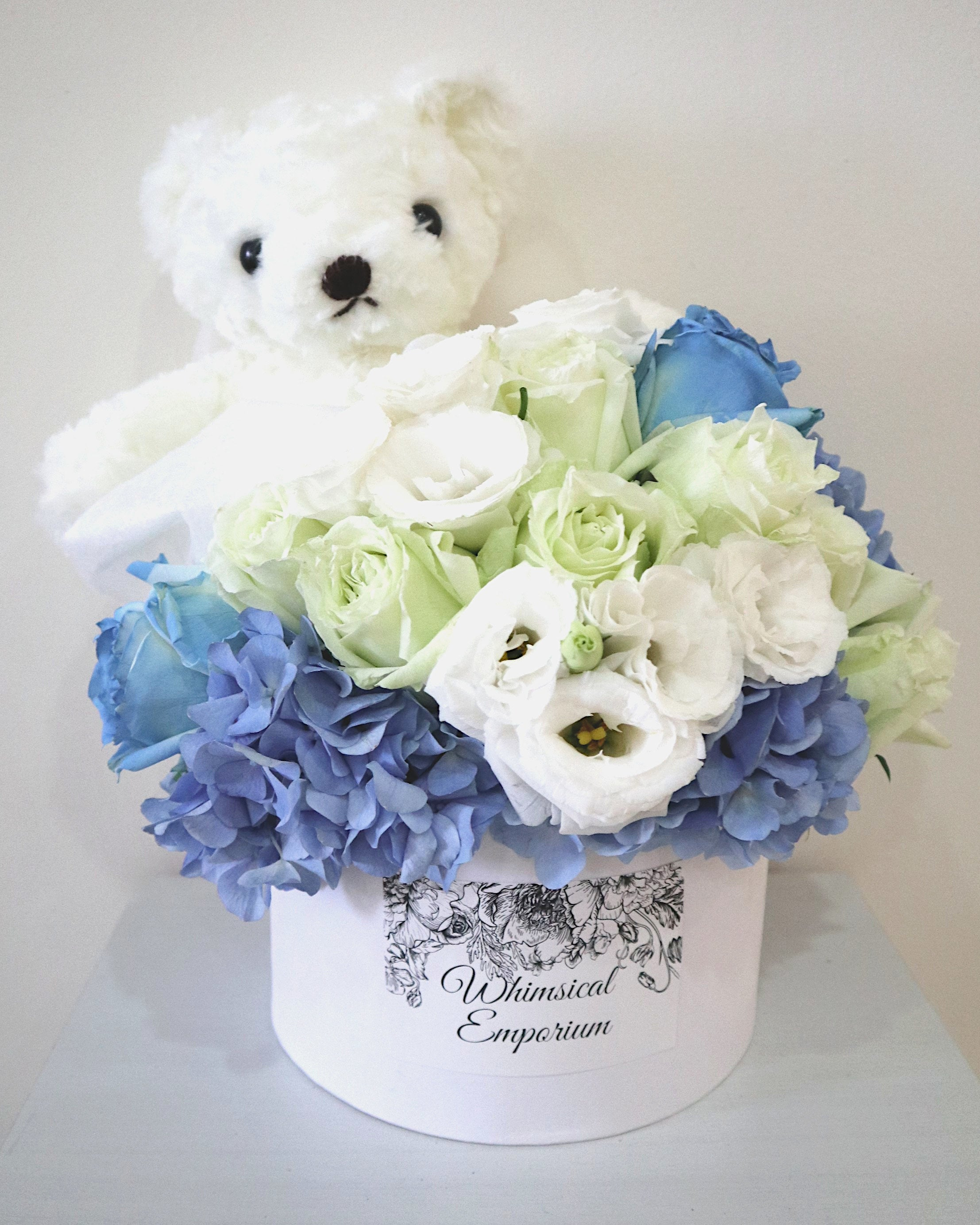 Blue Hydrangea, roses & eustoma bloom box with bear, Singapore florist