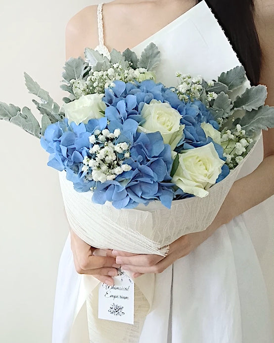 Blue Hydrangea & White Roses Bouquet, Singapore Florist