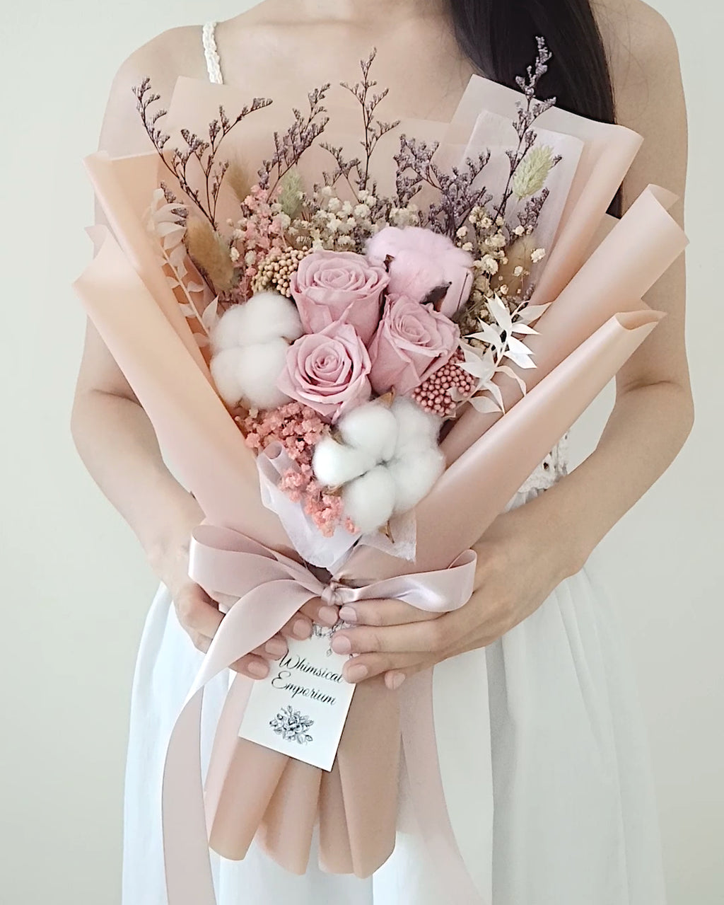 Pink Dried & Preserved Flowers Bouquet, Singapore Florist