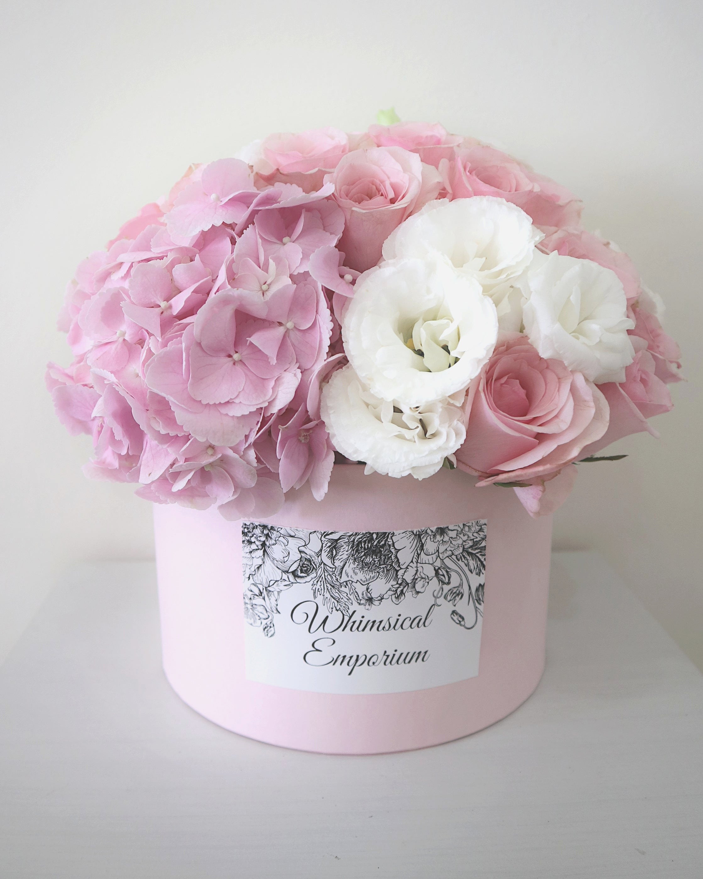 Pink Hydrangea, roses & eustoma bloom box, Singapore florist