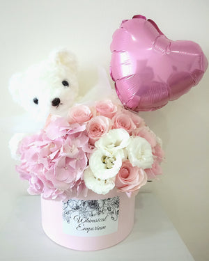 Pink Hydrangea, roses & eustoma bloom box with bear & balloon, Singapore florist
