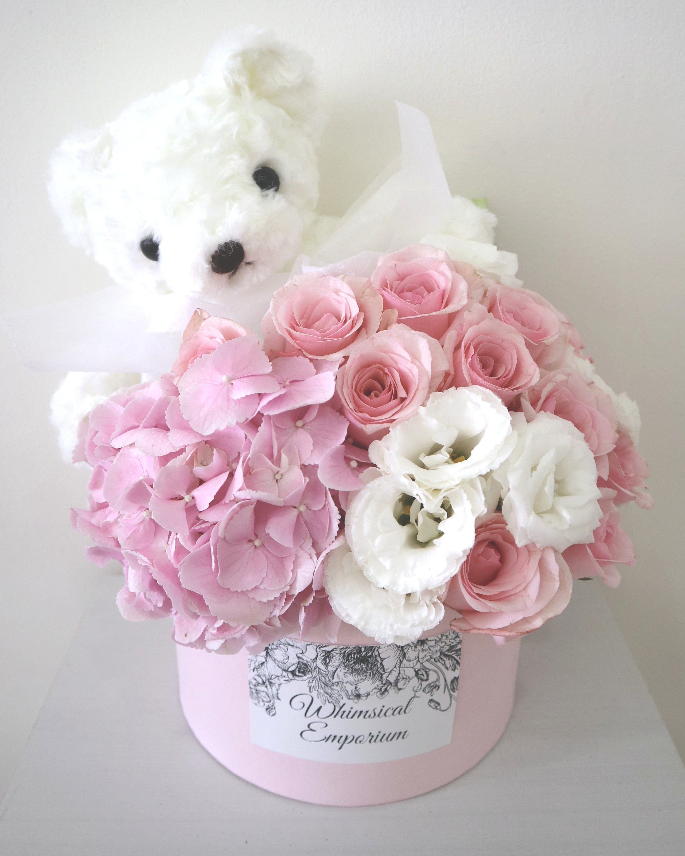 Pink Hydrangea, roses & eustoma bloom box with bear, Singapore florist
