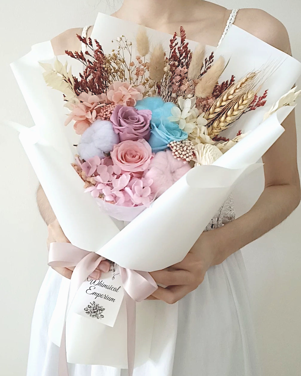 Rainbow Dried & Preserved Flowers, Roses Bouquet, Singapore Florist