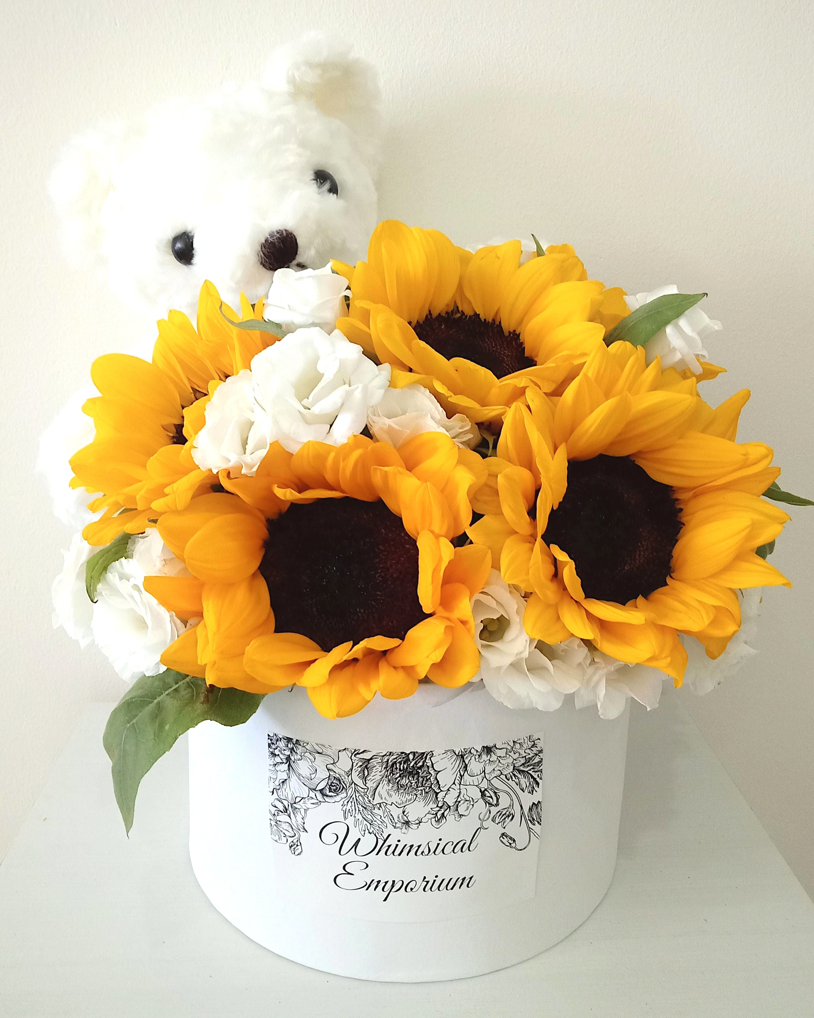Sunflower & Eustoma Bloom Box with Bear