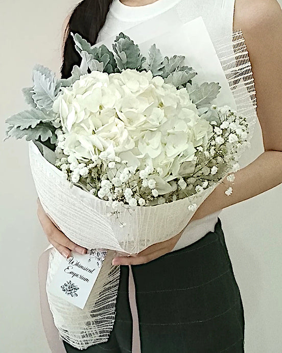 White Hydrangea Bouquet, Singapore Florist