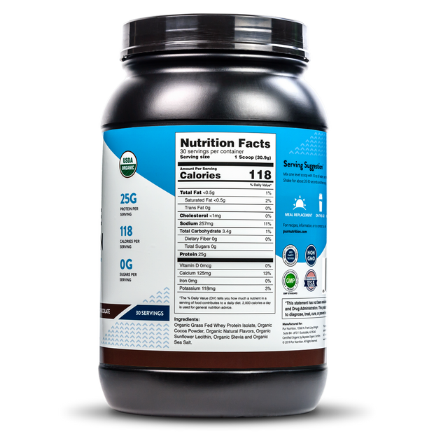 Great tasting, USDA Certified Organic, Chocolate, Whey Isolate Protein Powder