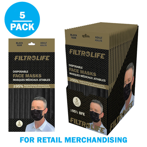 Black 3-Ply Disposable Face Masks | 20 packs of 5 pieces - 100 pieces total