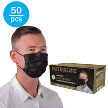 Load image into Gallery viewer, Black 3-Ply Disposable Face Masks