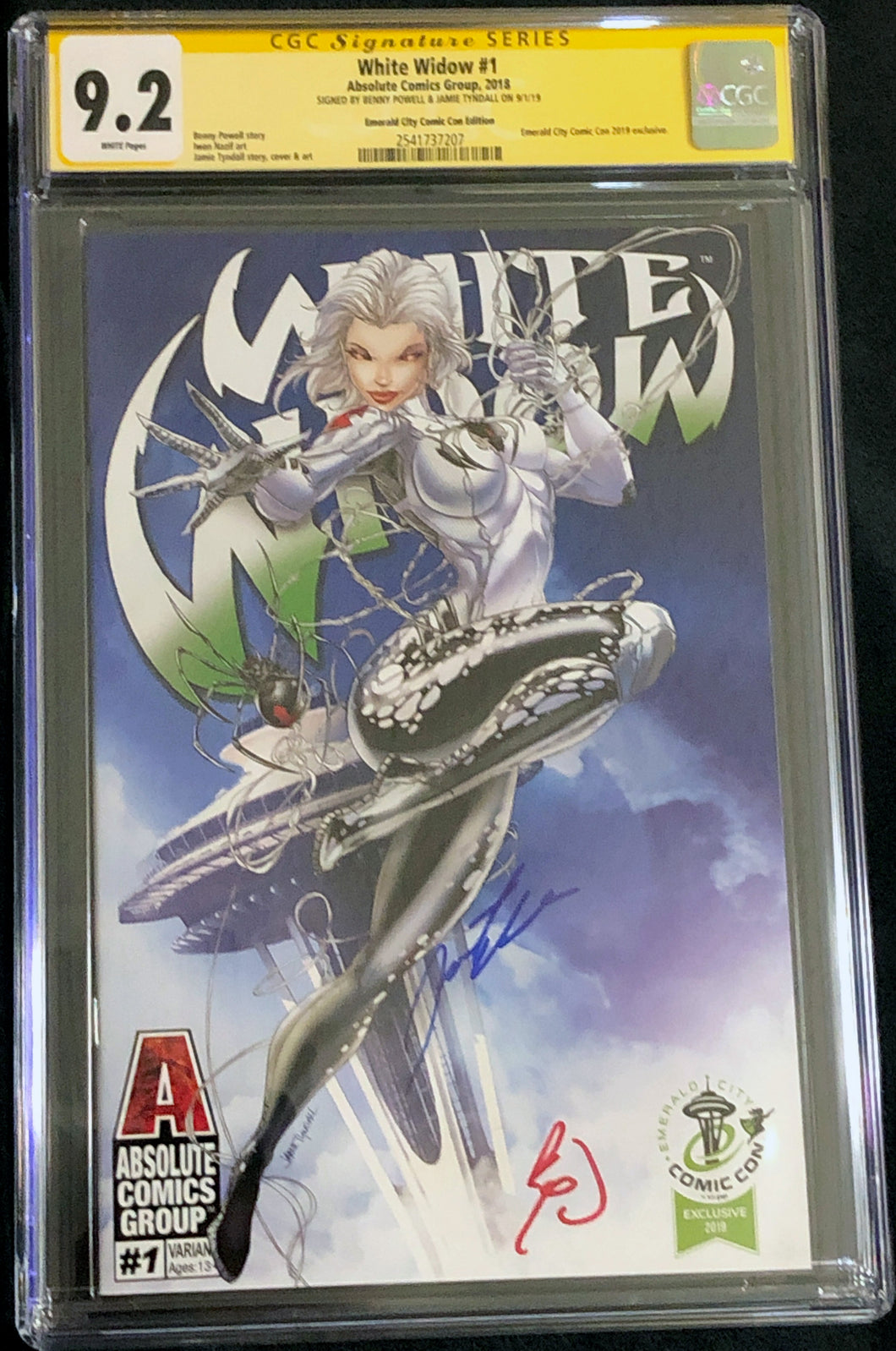 White Widow #1 9.2 CGC Yellow Label - Jamie Tyndall Emerald City Exclusive Signed
