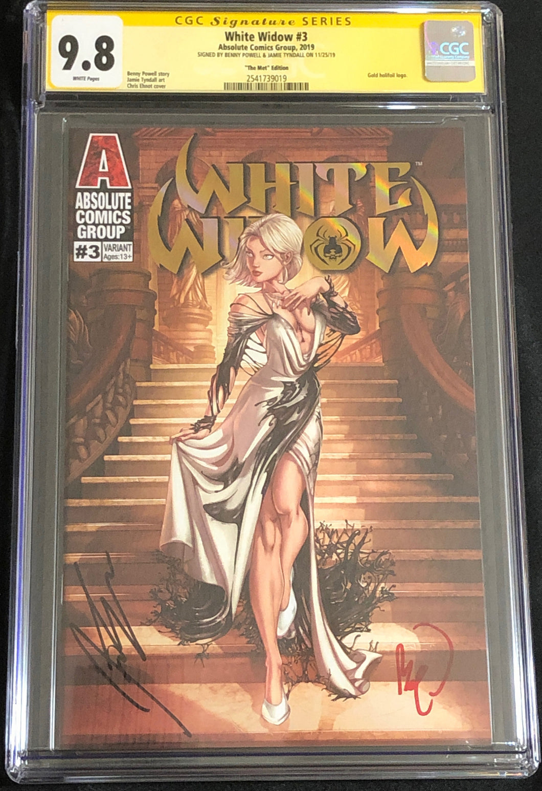 White Widow #3J 9.8 CGC Yellow Label - The Met- Signed