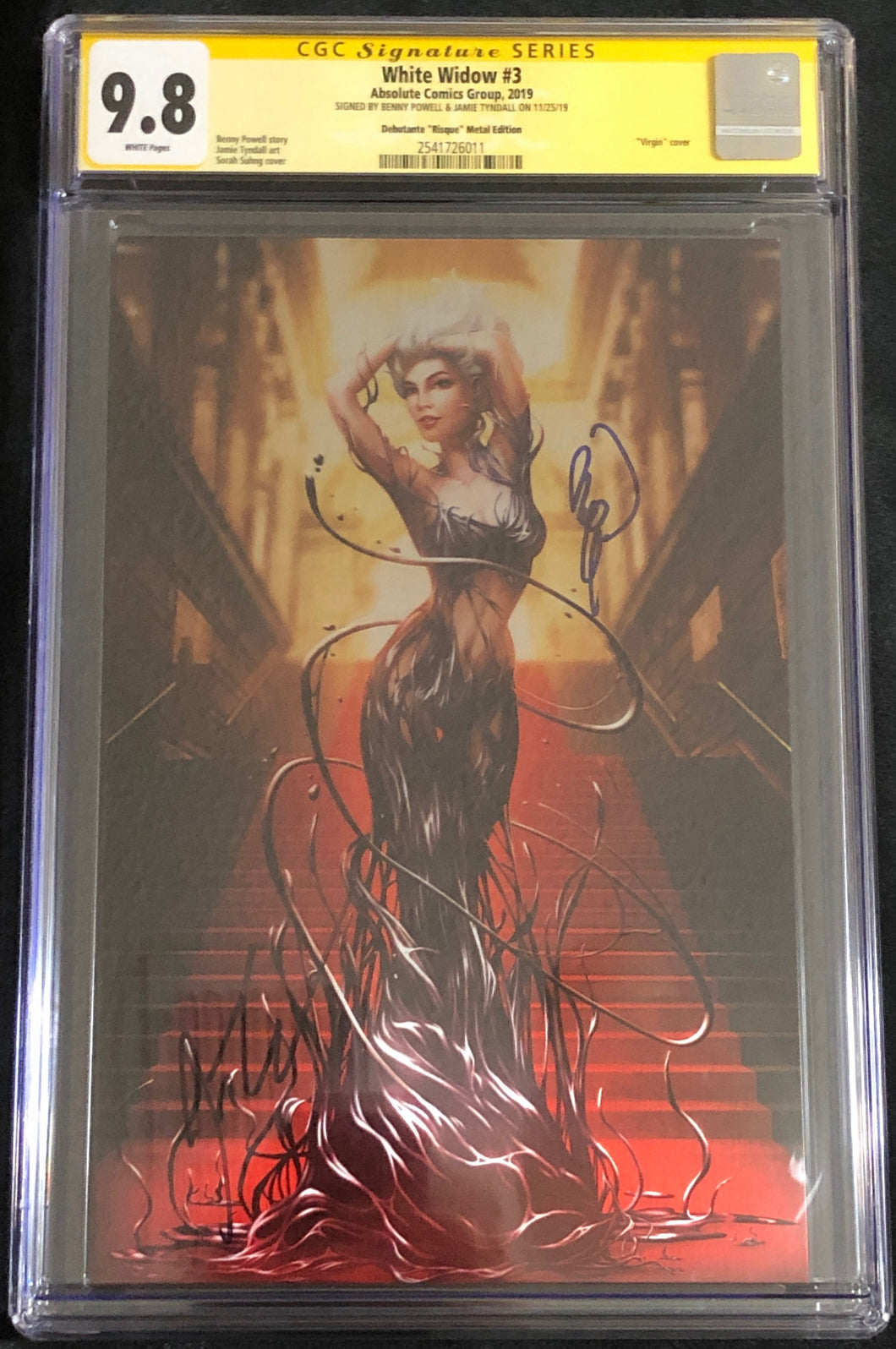 White Widow #3V 9.8 CGC Yellow Label - Debutante Risque METAL - Signed