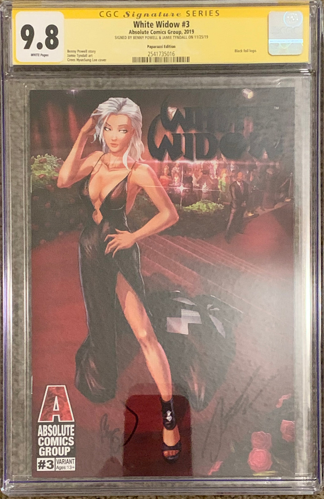 White Widow #3F 9.8 CGC Yellow Label - Paparazzi- Signed