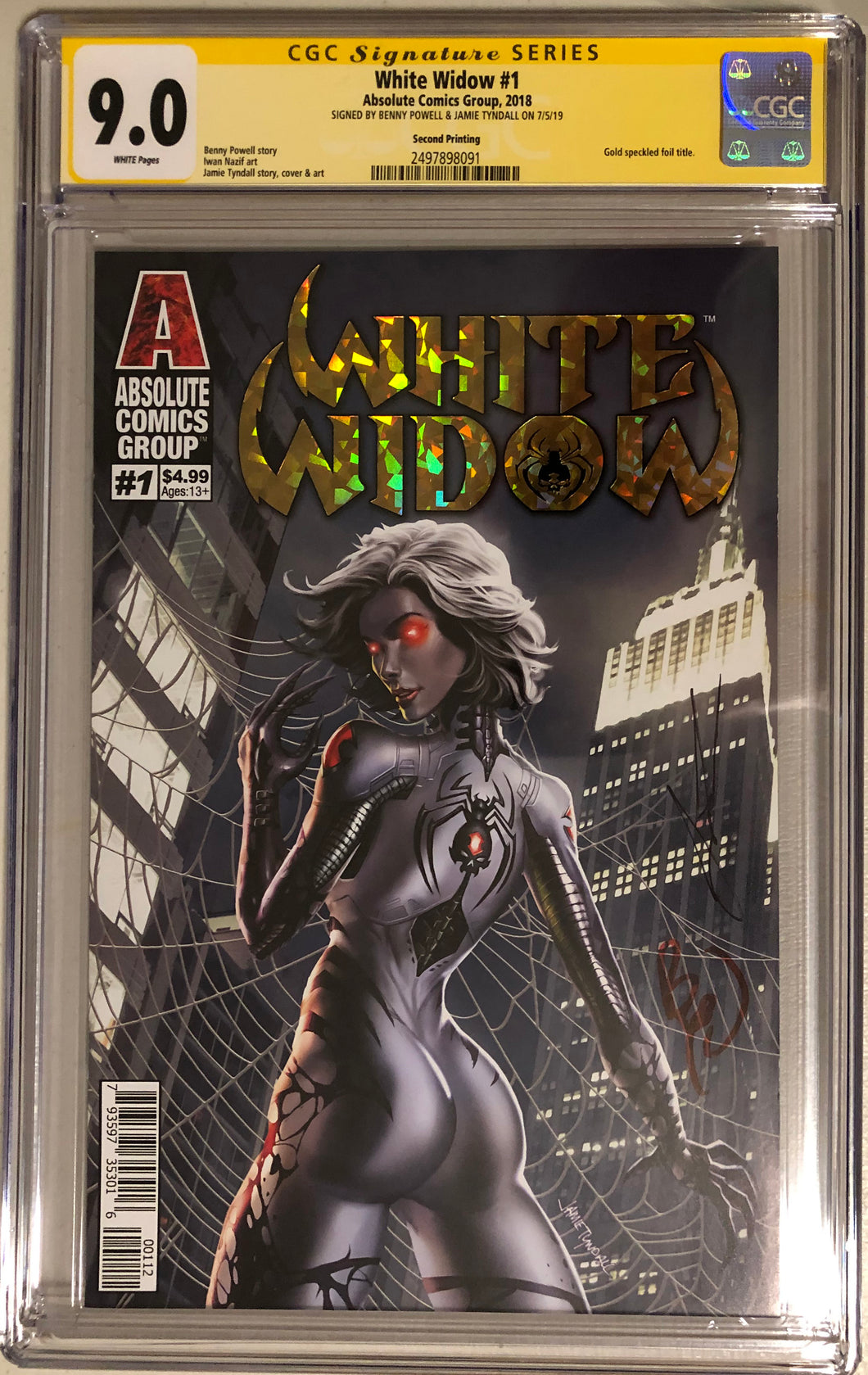 White Widow #1A2 - Painted Gold Retail 2nd - CGC 9.0 Yellow Label