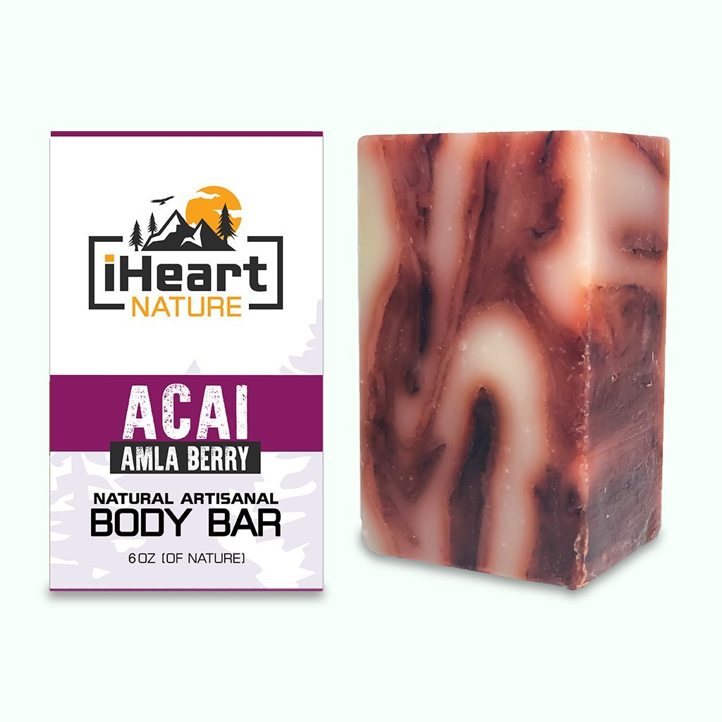 Acai Soap with Amla for Face & Body - Botanicals for a Youthful, Supple, Glowing Complexion - iHeart Nature