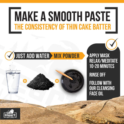 Activated Charcoal Face Mask (DIY Powder) with Turmeric, Honey, and Vitamin C Powder Blend - iHeart Nature
