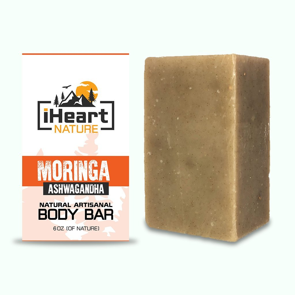 Moringa Ashwagandha Soap For Face & Body - Herbs with Anti-Aging Properties for Young Firm Skin - iHeart Nature