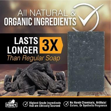 Natural Dead Sea/Activated Charcoal Soap Bar - Minerals & Charcoal Help Remove Toxins, Clear Pores, & Nourish Skin - iHeart Nature