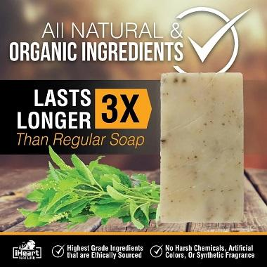 Natural Organic Holy Basil Soap Bar - Ayurvedic Tulsi Herb Has Adaptogenic, Anti-Oxidant, & Anti-Aging Skin Benefits - iHeart Nature