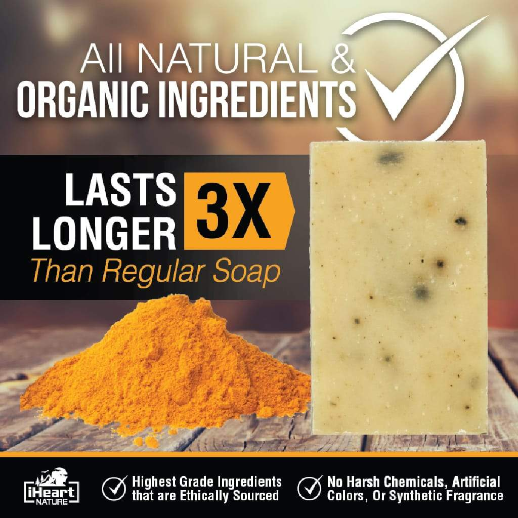 Natural Organic Turmeric Soap Bar - Turmeric Helps With Acne, Dark Spots, Blemishes, & Lightens Skin - iHeart Nature