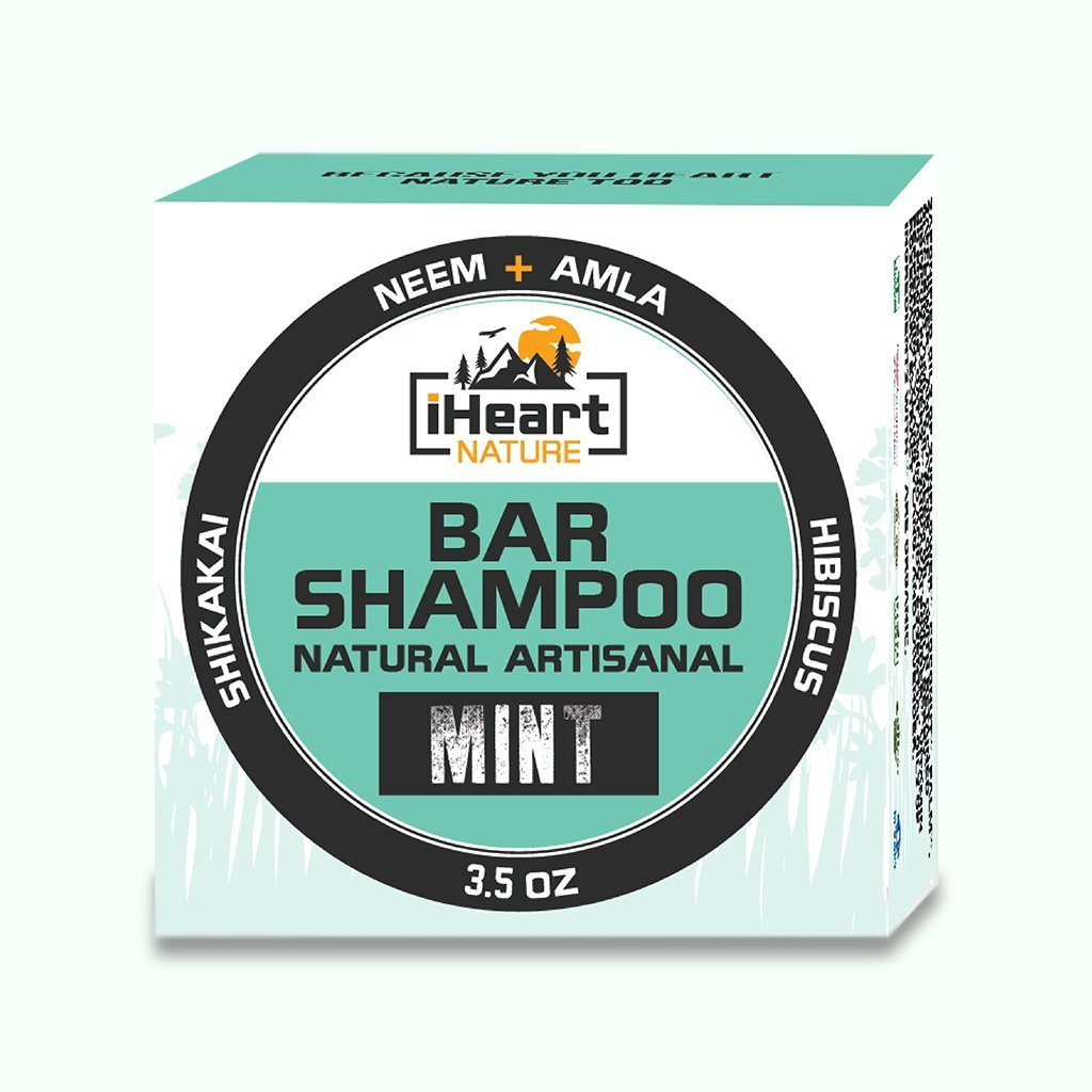 Organic Shampoo Bar with Neem, Amla, Shikakai, & Hibiscus (Mint) - iHeart Nature