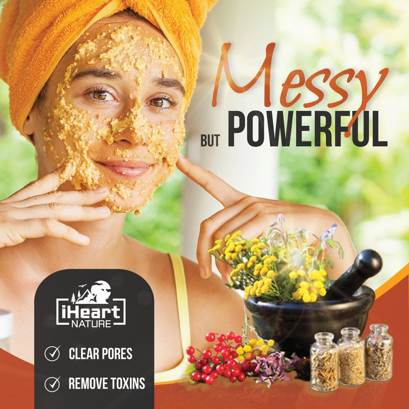 Turmeric Face Mask (DIY Powder) with Red Sandalwood and Fenugreek - Natural Clay Powder Blend for Bright Clear Smooth Skin Glow - iHeart Nature