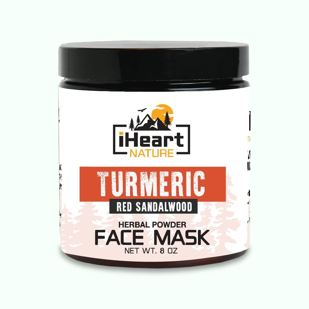 Turmeric Face Mask (DIY Powder) with Red Sandalwood & Fenugreek - Natural Clear Soft Skin Glow - iHeart Nature