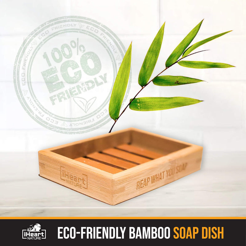 Soap Dish - Sustainable Eco-Friendly Bamboo Wood - iHeart Nature