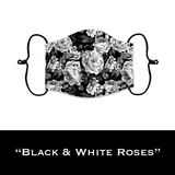 Black & White Roses - Face Shield - PRE-ORDER - ETA End July 2020