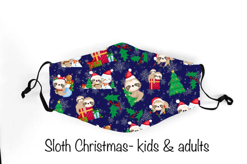 Christmas Sloth In Stock Face Shield