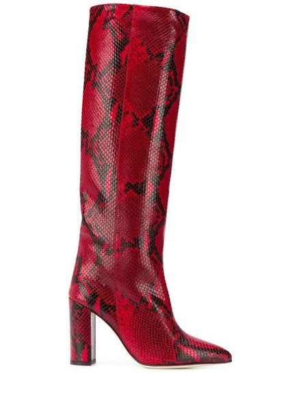 Paris Texas Red Python Embossed Boots