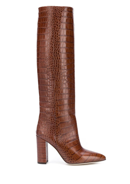 Paris Texas Brown Crocodile Print Boots