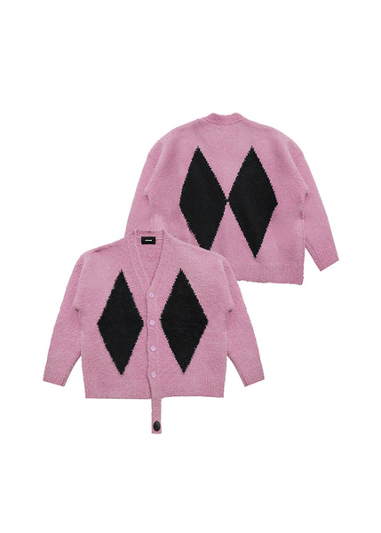 WE11DONE Pink Agyle Knit Cardigan