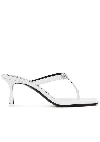 Alexander Wang Ivy Logo Leather Thong Heeled Sandals