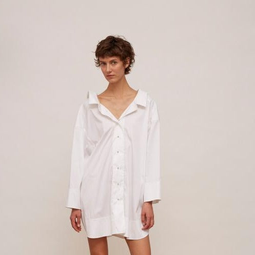 Walk of Shame Mini White Shirt Dress