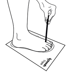 outline of foot on template holding pencil for sizing