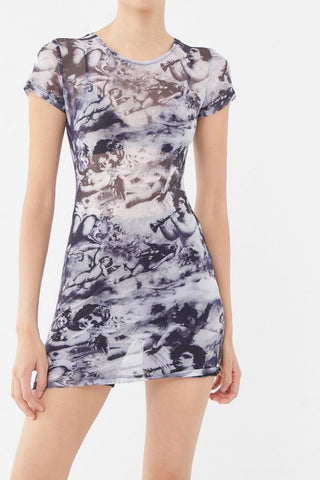 Urban Outfitters Angel-Printed Mini Dress
