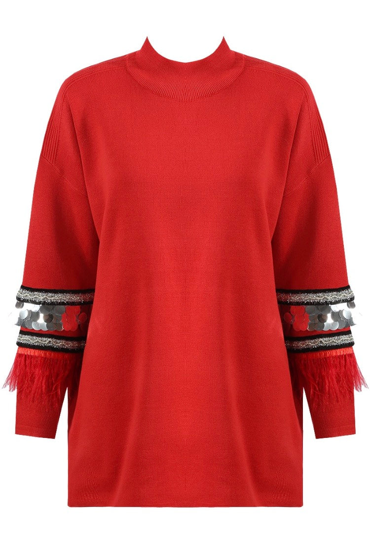 0be531c6dbc Red Metalic Detail Longline Jumper – Our House Boutique