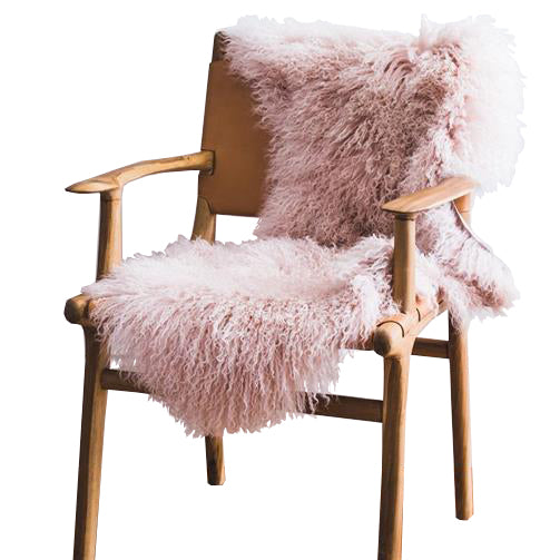 Mongolian Sheepskin Rug - Blush