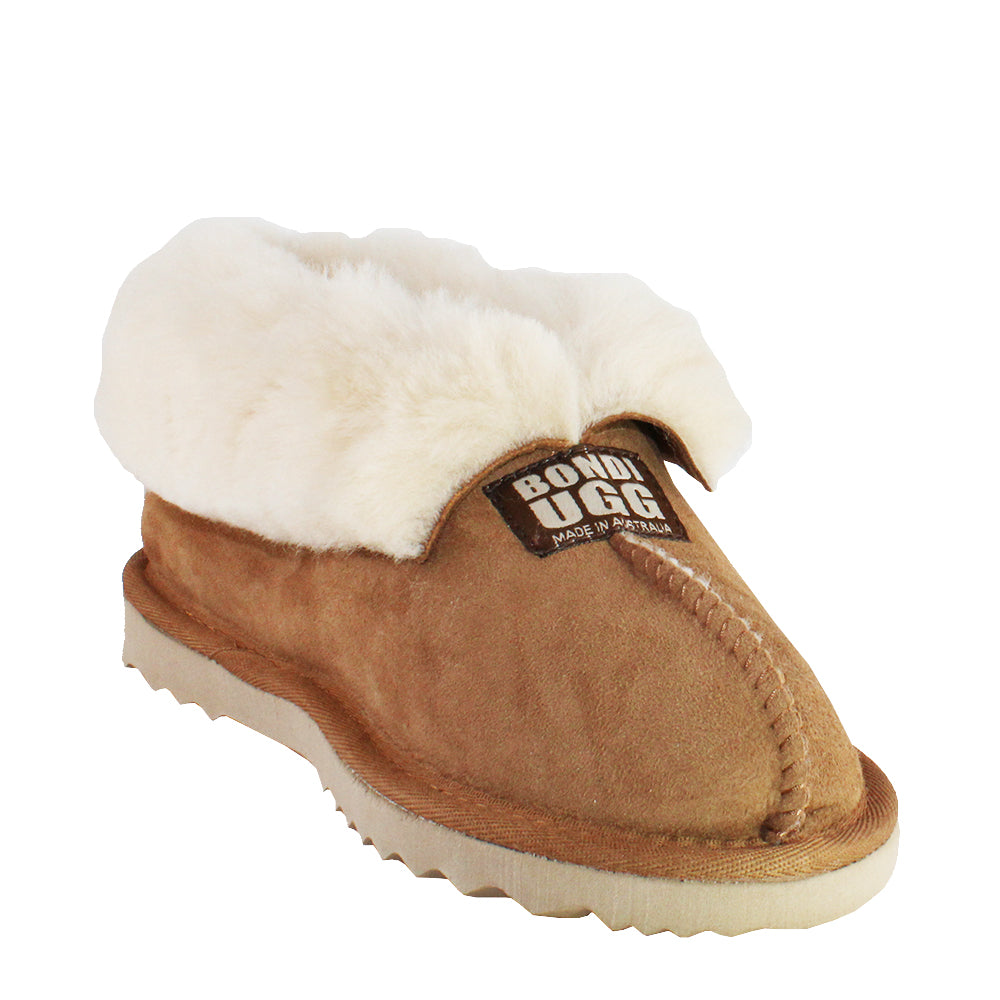 BONDI UGG Wool Collar Slipper - Chestnut