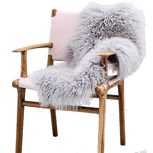 Mongolian Sheepskin Rug - Light Grey