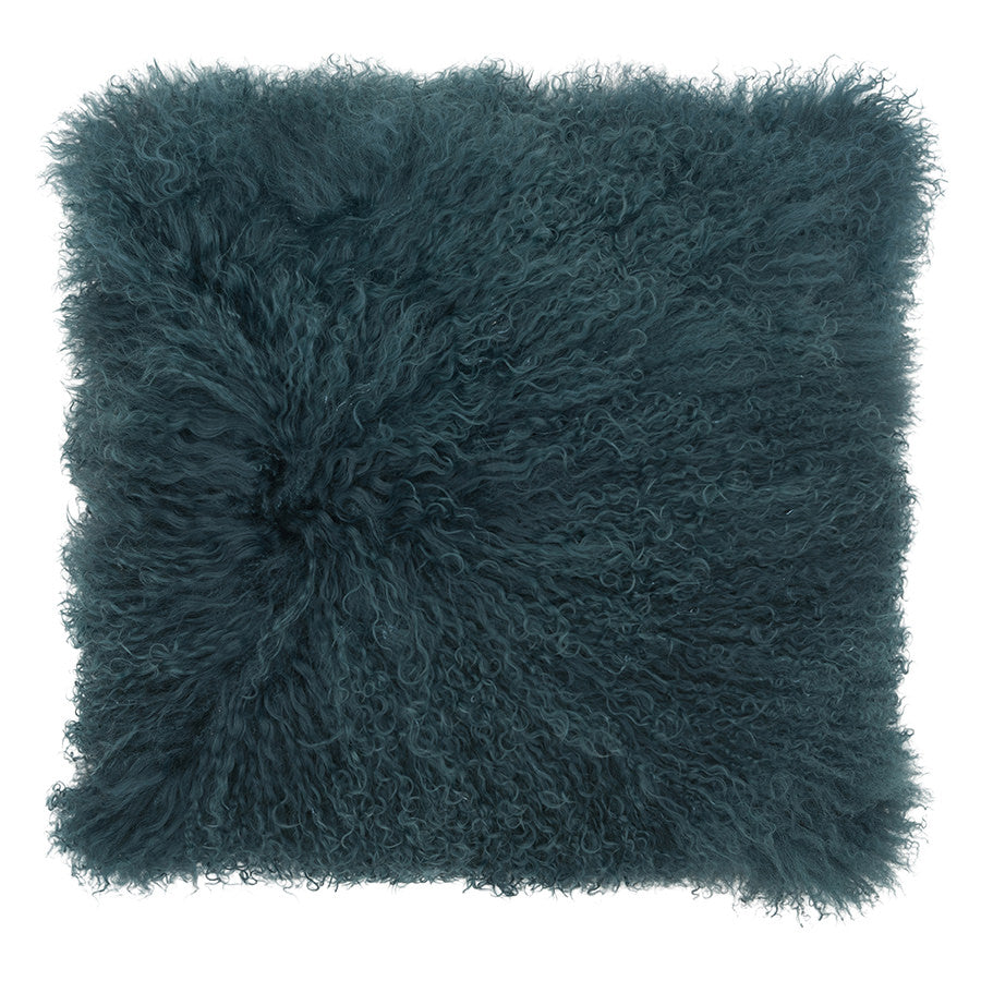 Mongolian Sheepskin Cushion - Moss